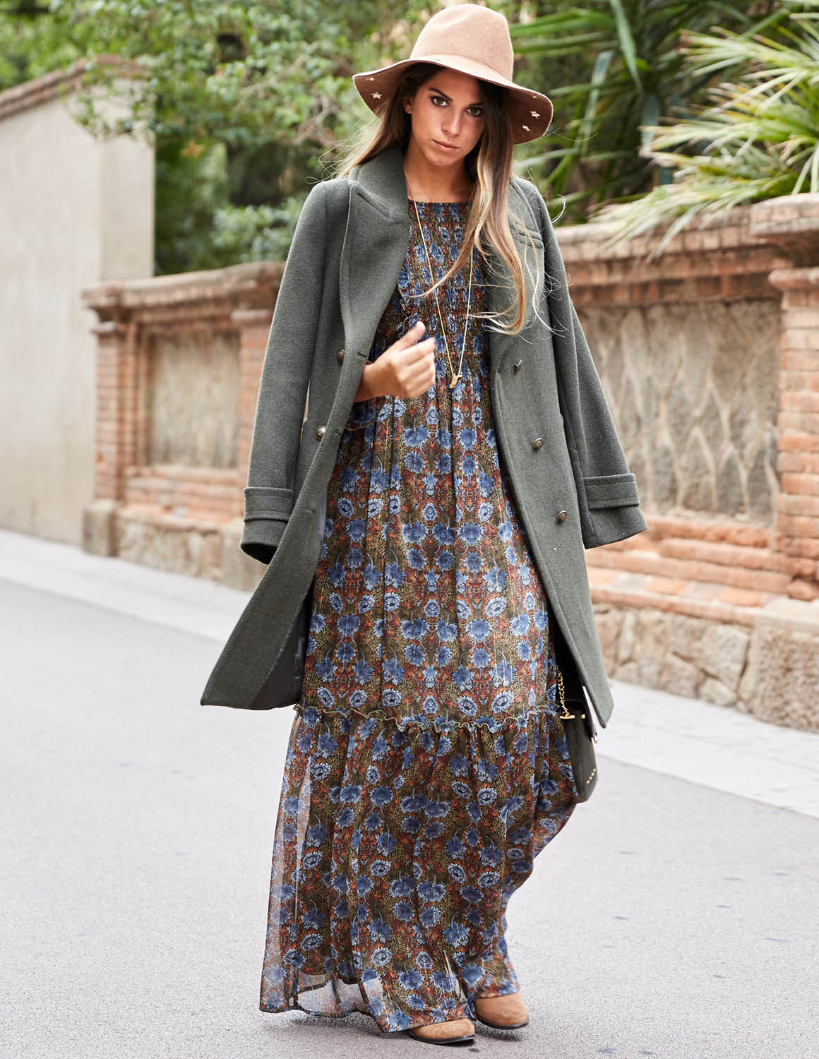 Vestido boho largo pull and bear