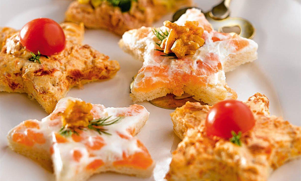 Recetas de canap s variados de at n salm n y tomate for Recetas para canape
