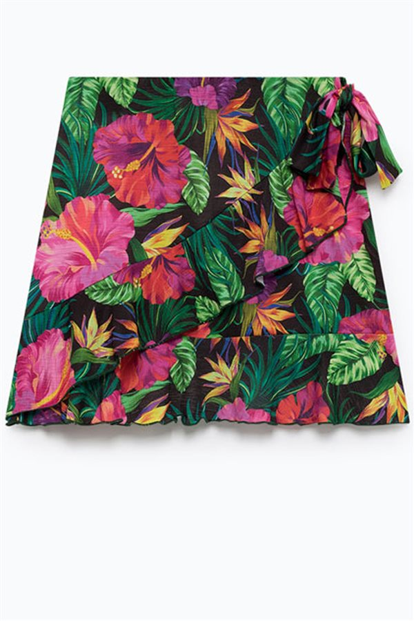 falda-tropical-lefties. Falda volante tropical