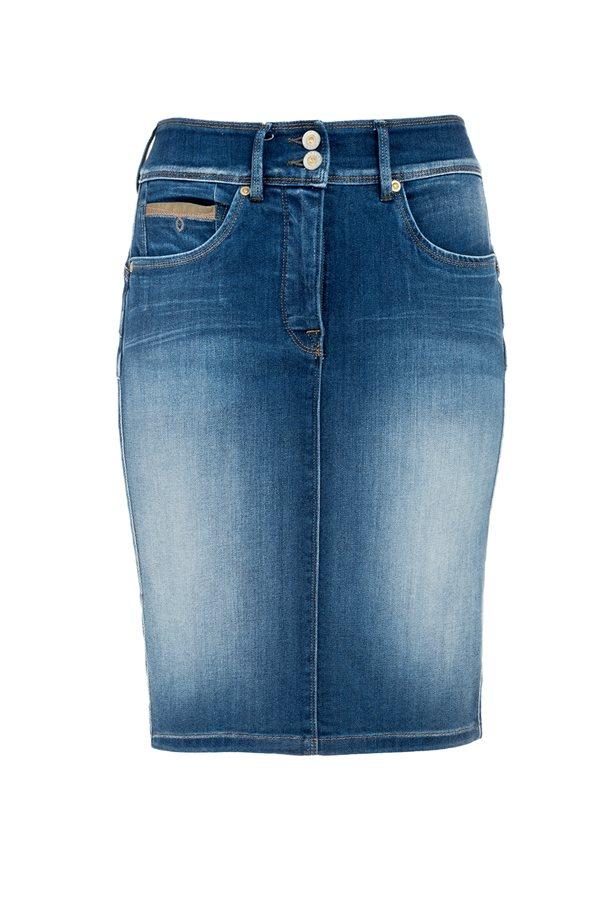 3442287a32 Faldas favorecedoras-tubo jean Salsa. La falda tubo