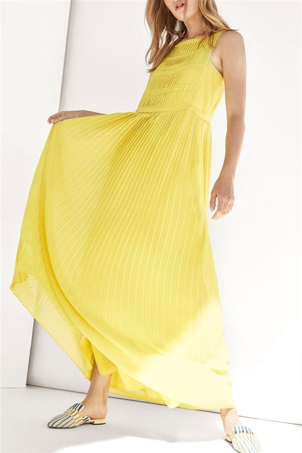 1fd5faae2 vestido-amarillo-massimo-dutti. Vestido plisado