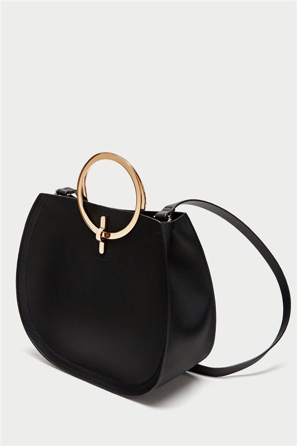 Asas Shopper Zara Bandolera Aros Con Redondas OwIFZFnPq