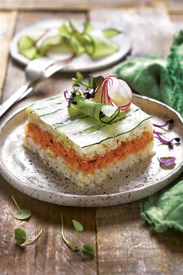 sushi lasaña de atun. Sushi lasaña de atún