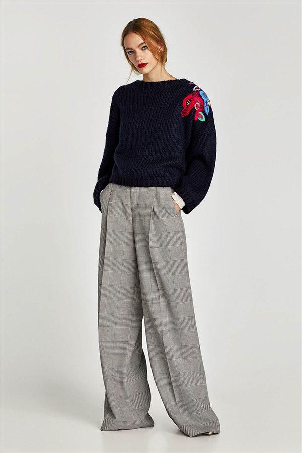 ropa mujer look urbano otoño invierno 2018 zara JERSEY BORDADO FLORAL  DETALLE 29 f5c9e1ce8fc0