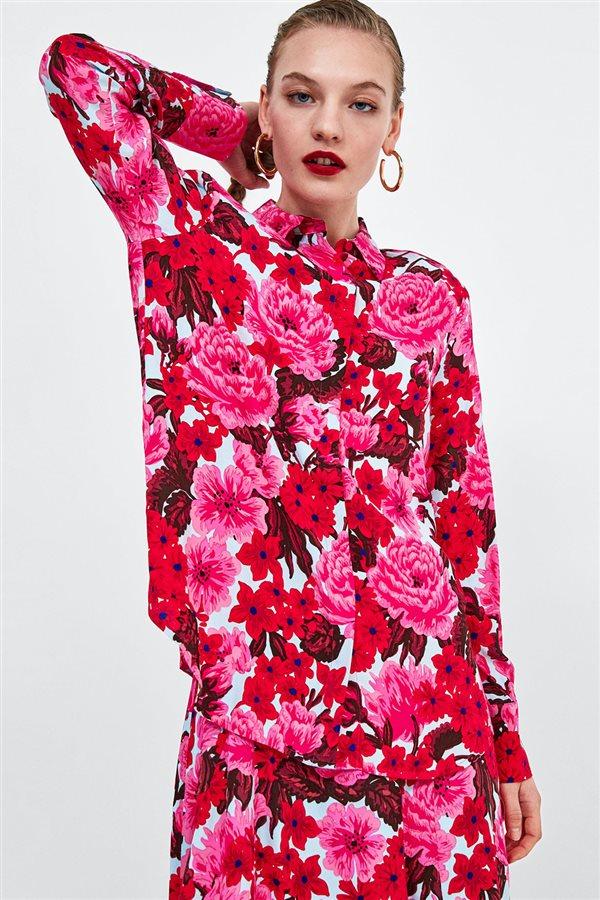 zara flores camisa roja Maxi flores estampado w04Ep1qvwx