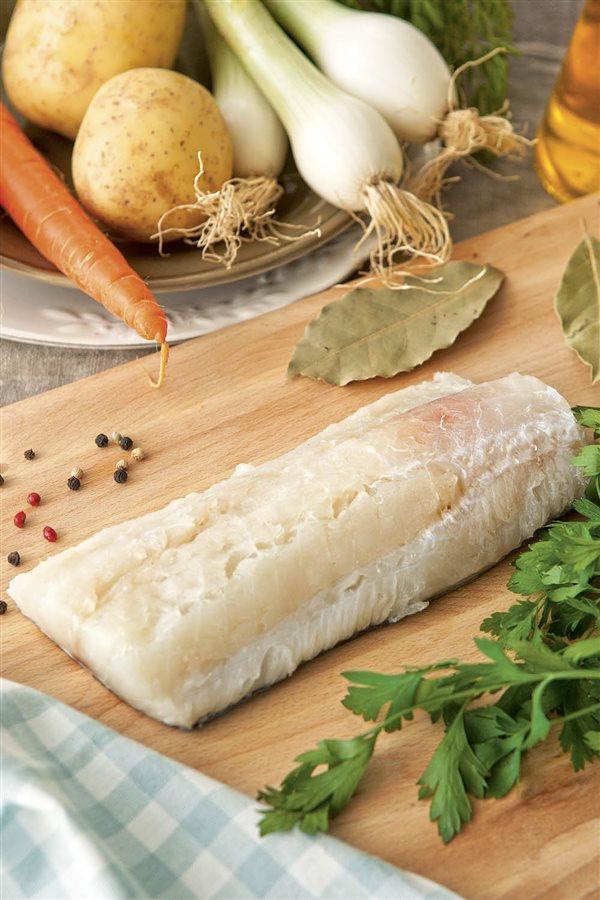 pescado lomo de bacalao fresco entero. Alternativa con bacalao fresco