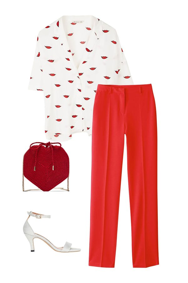 look pantalon rojo tacon. Copia el look