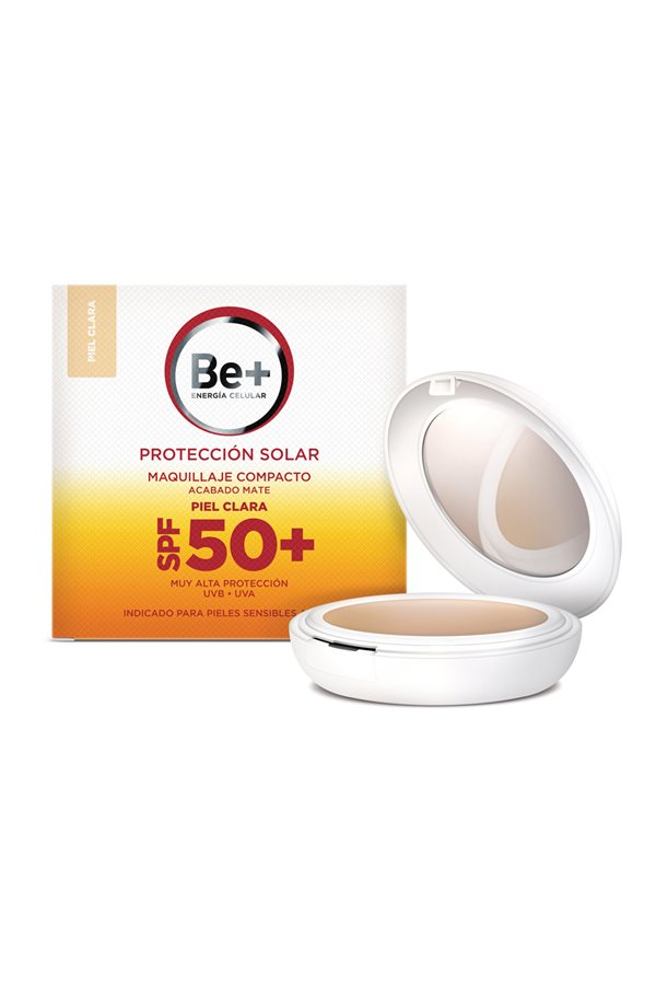 solares spf Be+ Maquillaje Compacto SPF50 Piel Clara. Maquillaje