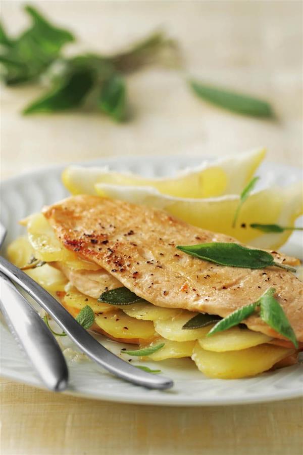 Pechuga de pollo a la plancha al limón y con patatas. Pechuga de pollo al limón