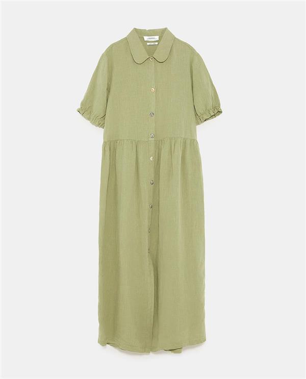 Vestido camisero verde militar zara