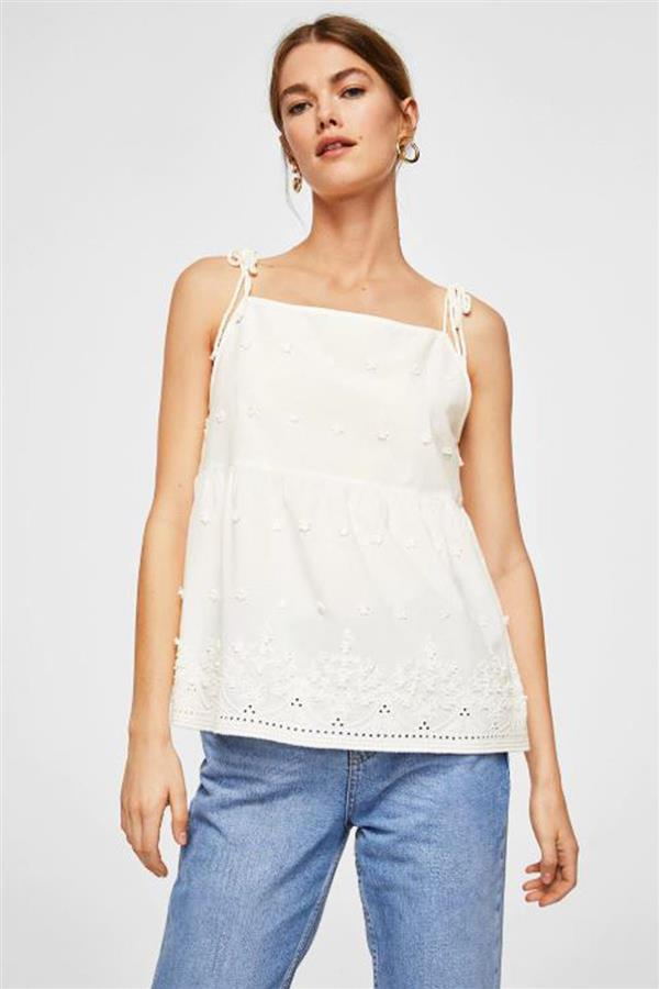 rebajas mango top blanco. Hippy