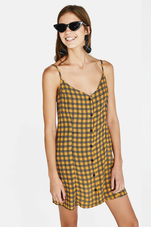 52561ec29d vestidos de tirantes corto estampado verano bershka rayas mostaza 15