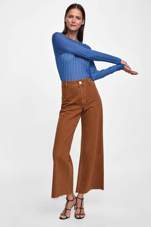 pantalones de campana de zara