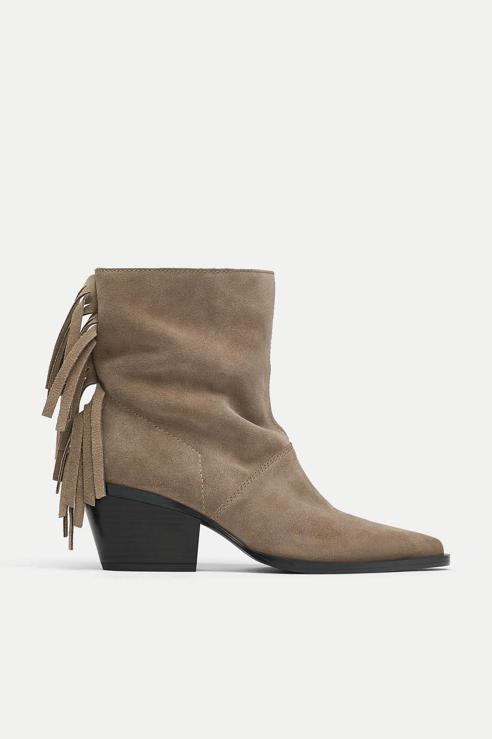 botin piel zara flecos 49,95 euros. This boots are made for walking