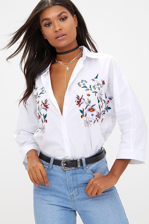 Dioufond camisa blanca Formal mujer Blusa de manga larga
