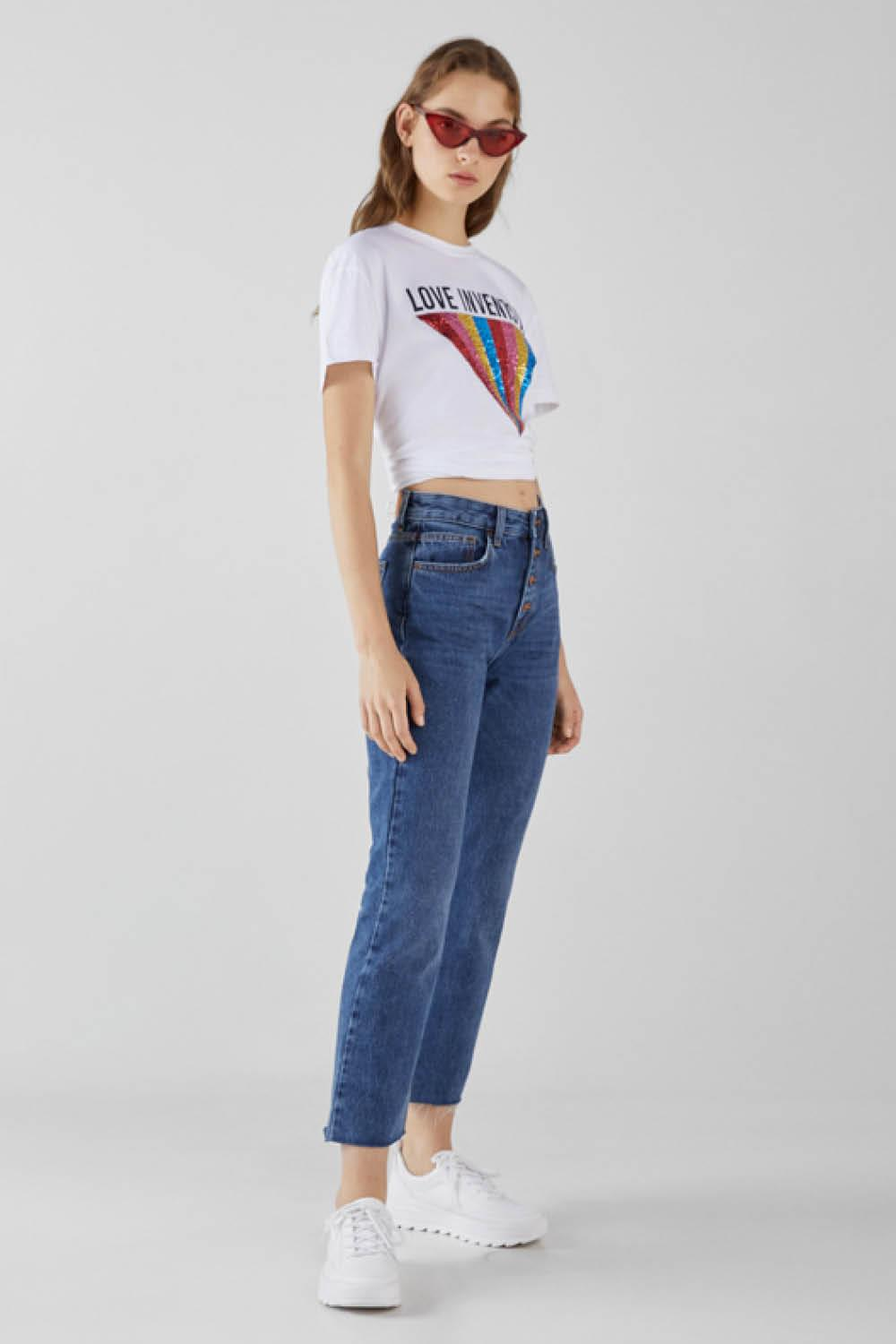 bershka rebajas jeans straight fit cropped. Mom jeans