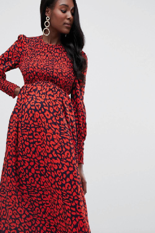 5448fe545 asos maternity premama vestido largo animal print. Vestido midi de leopardo  rojo