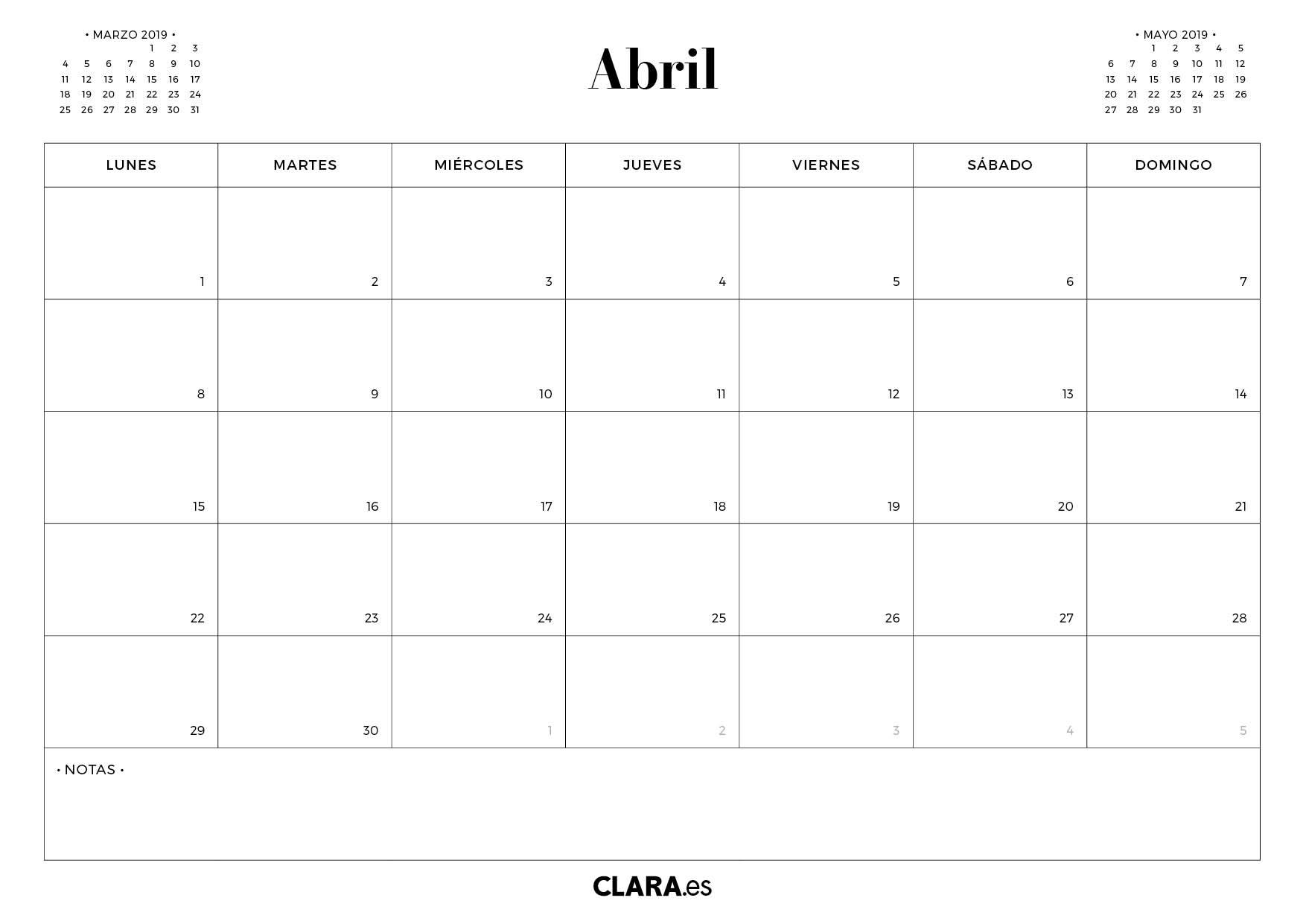 076415d38 Calendario ABRIL 2019 para imprimir gratis (en pdf y jpg)
