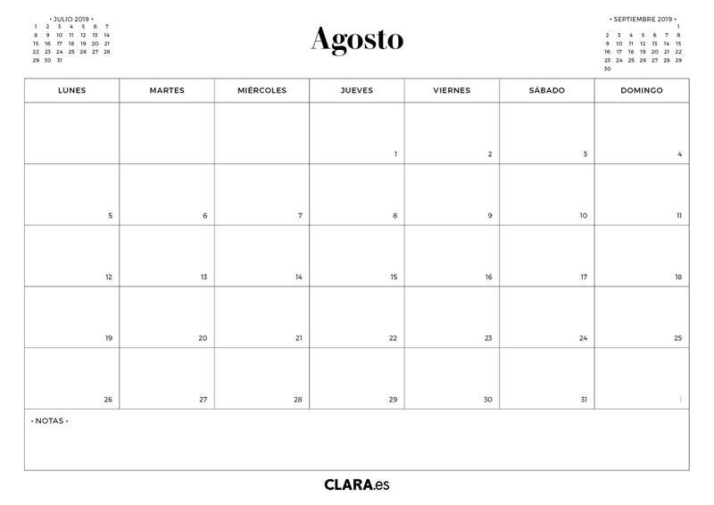 Calendario Mr Wonderful Julio 2019.Calendario Agosto 2019 Para Imprimir Gratis En Pdf Y Jpg