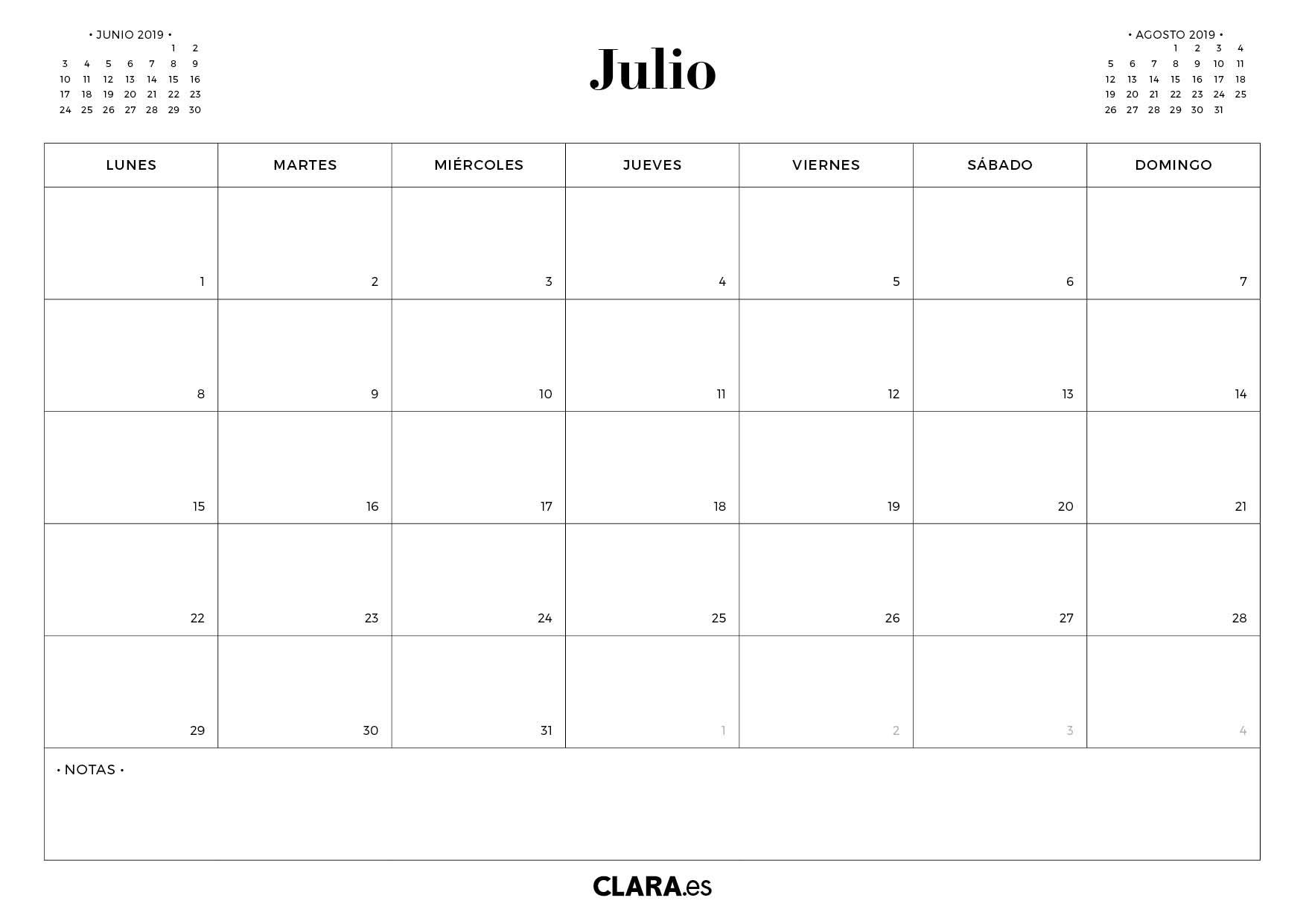 Calendario 2019 Para Imprimir Gratis.Calendario Julio 2019 Para Imprimir Gratis En Pdf Y Jpg