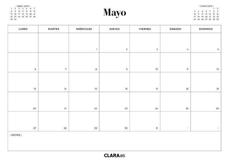 Calendario Agenda 2020 Para Imprimir.Calendario Mayo 2019 Para Imprimir Gratis En Pdf Y Jpg