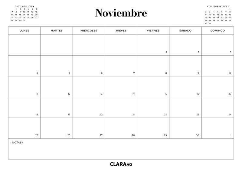 Calendario Noviembre 2019.Calendario Noviembre 2019 Para Imprimir Gratis En Pdf Y Jpg