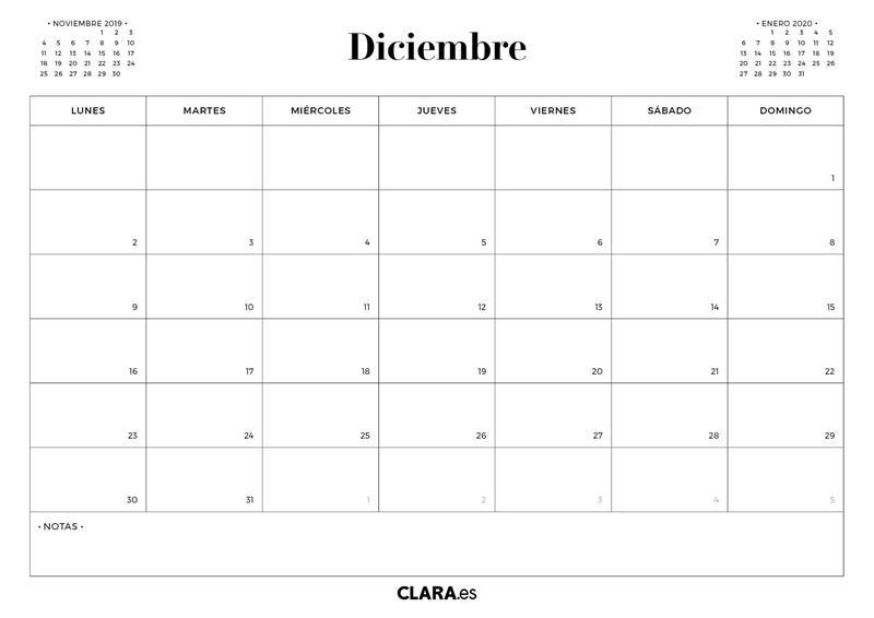 Calendario Diciembre.Calendario Diciembre 2019 Para Imprimir Gratis En Pdf Y Jpg