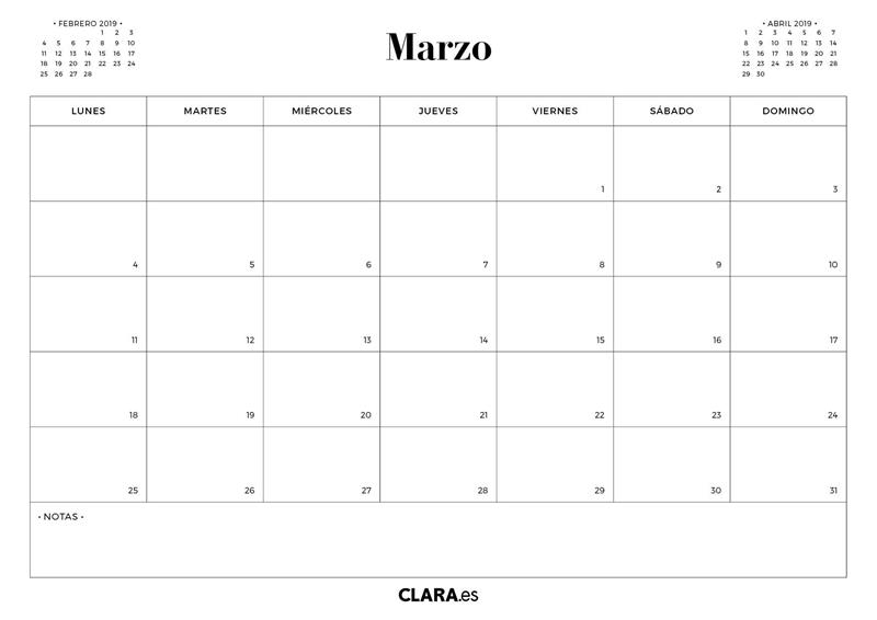 Calendario Marzo 2020.Calendario 2019 Para Imprimir Gratis En Pdf Y Jpg