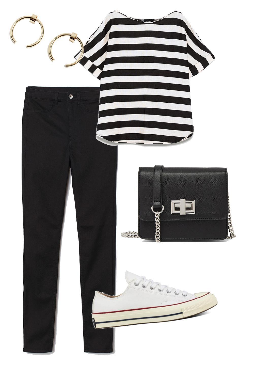 c8e4ca9faab looks con zapatillas camiseta rayas pantalón negro. Look minimalista