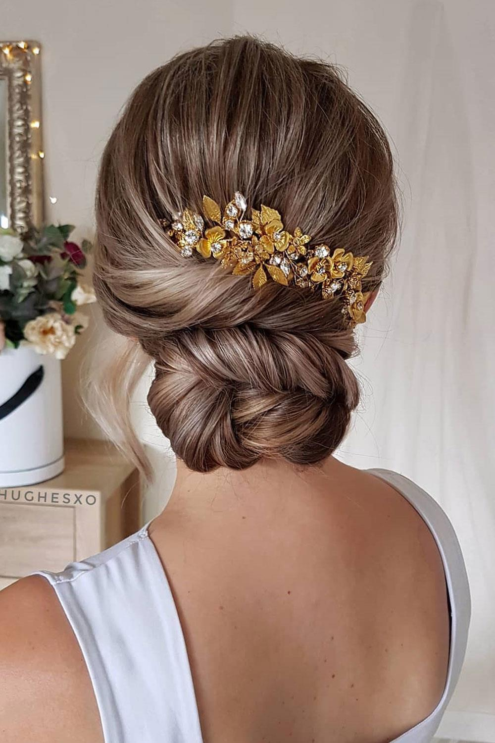 hairstyles long hair bun low party