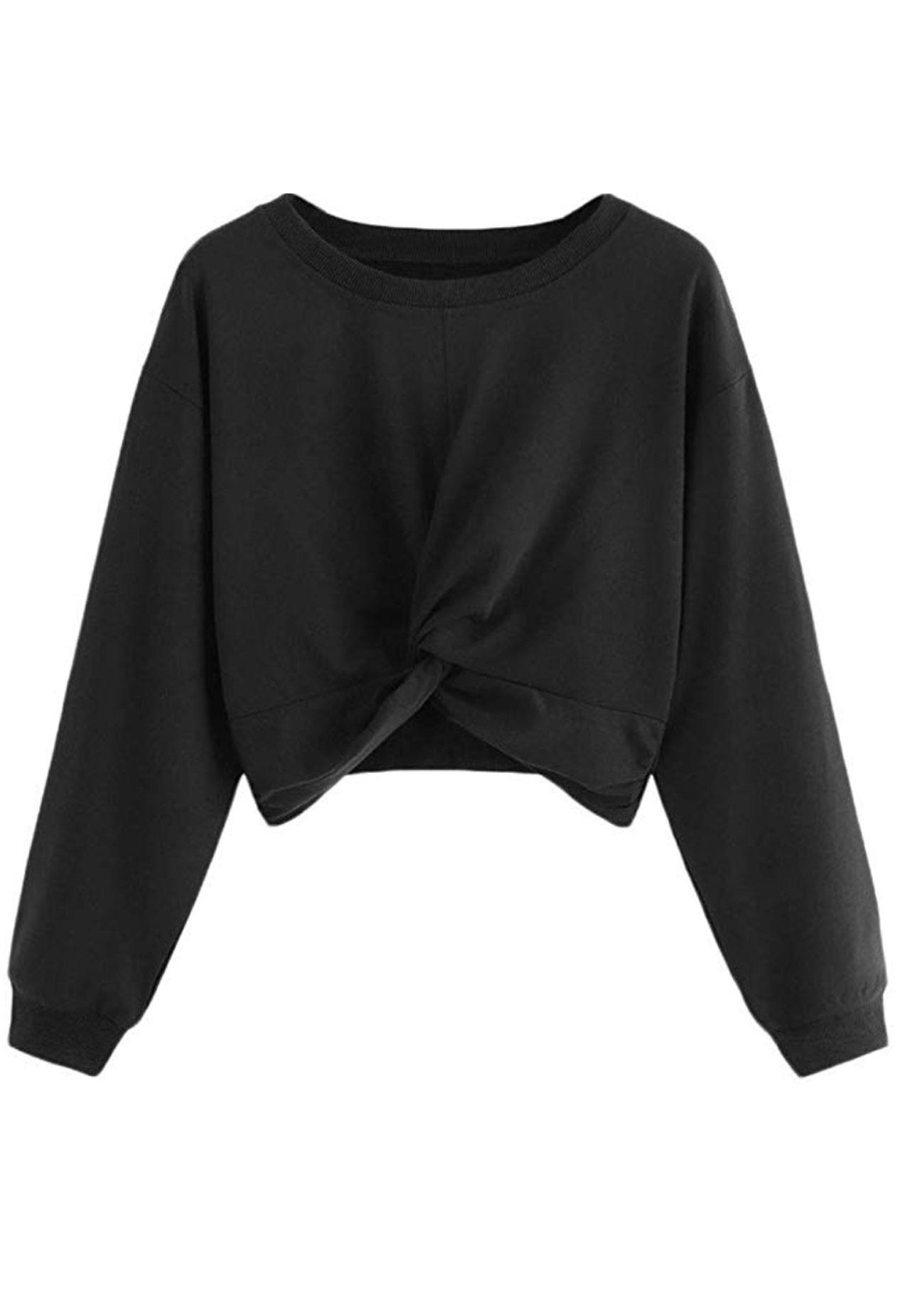 Sudadera 'cropped' negra de Amazon