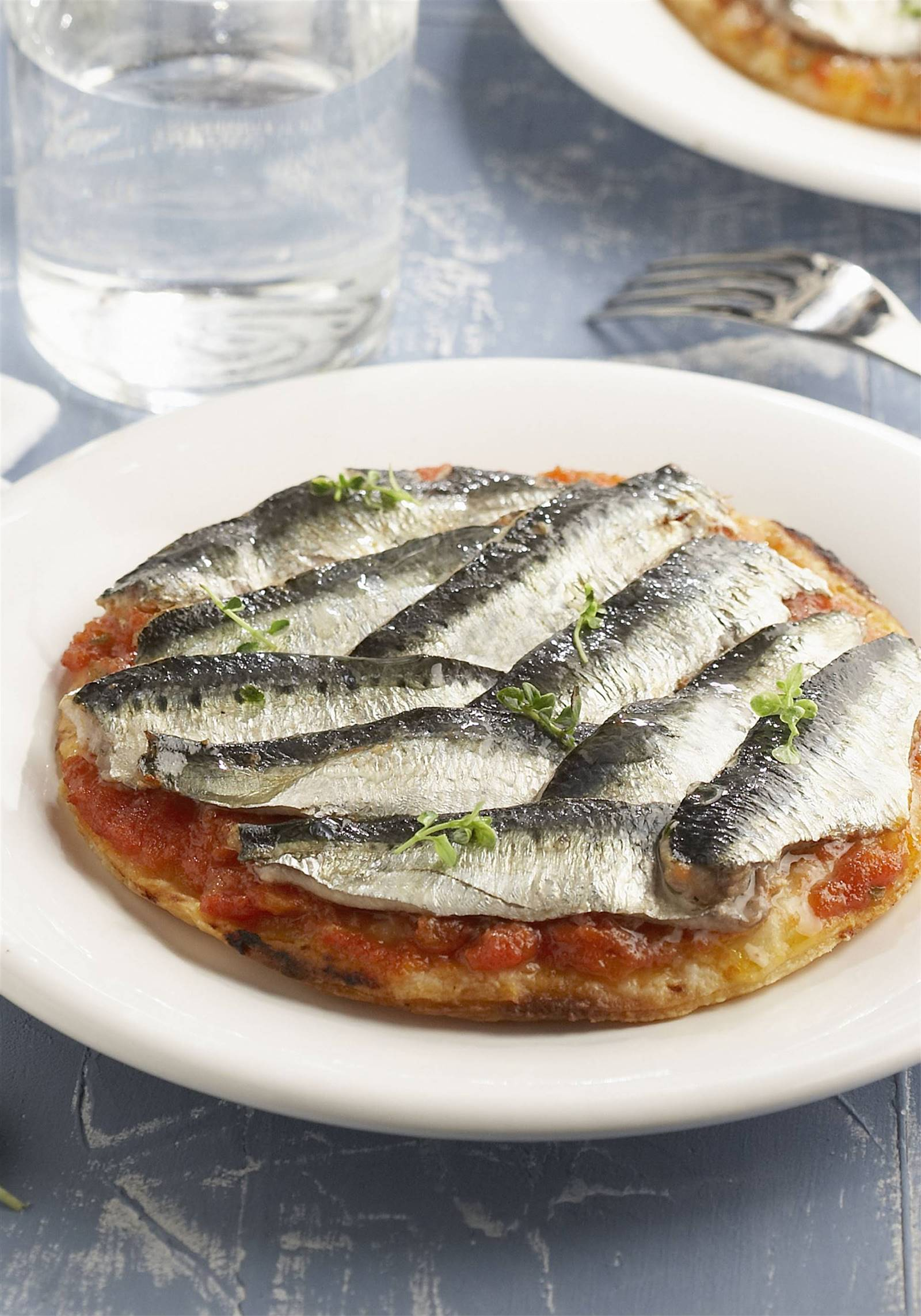 pizza saludable toppings ligeros sardinas