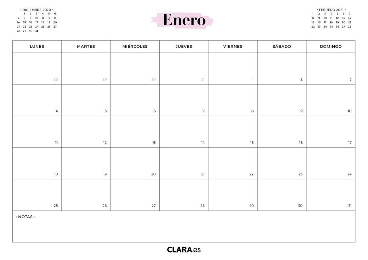 Calendario ENERO 2021 para imprimir gratis (en pdf y )