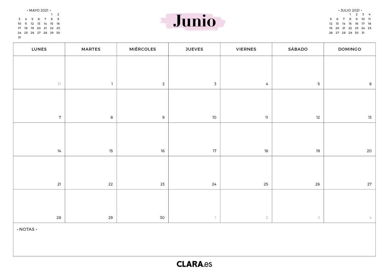 Calendario JUNIO 2021 para imprimir gratis (en pdf y )