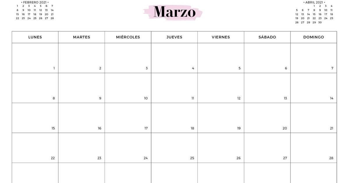 Calendario MARZO 2021 para imprimir gratis (en pdf y )