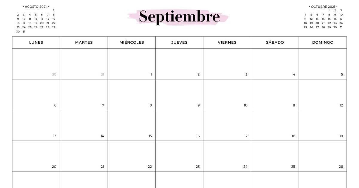 Calendario SEPTIEMBRE 2021 para imprimir gratis (en pdf y )
