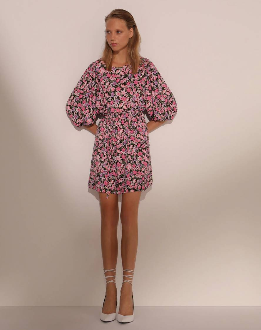YOUNG FORMULA Floral dress with puff sleeves