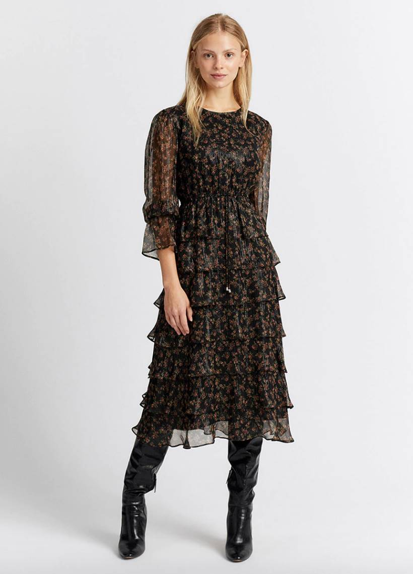 SFERA Printed lurex dress