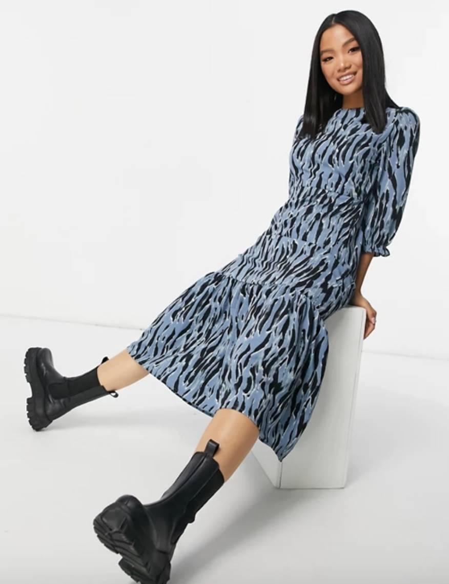 New Look Petite tiered zebra print midi dress in blue