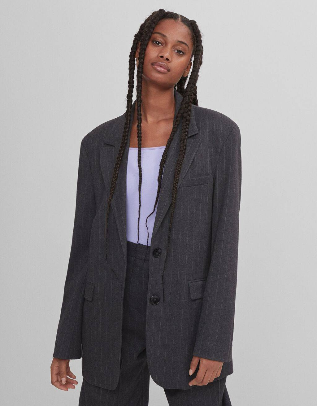 Oversized striped blazer