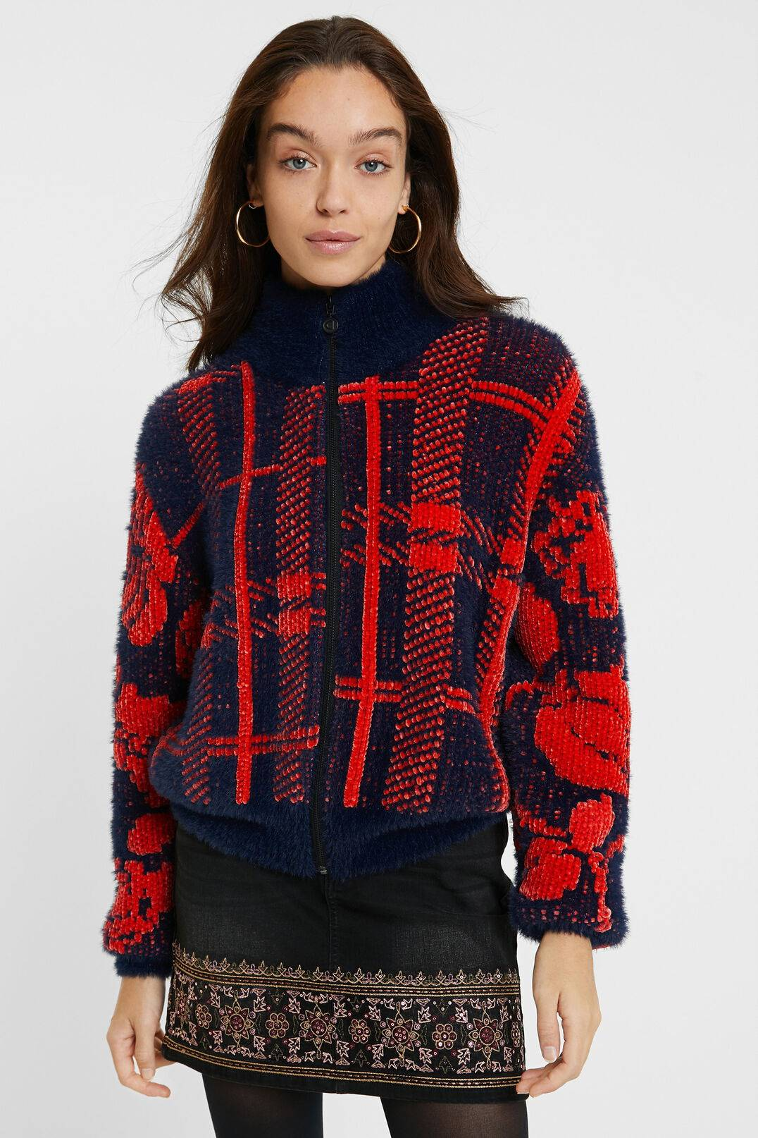 High neck knit jacket