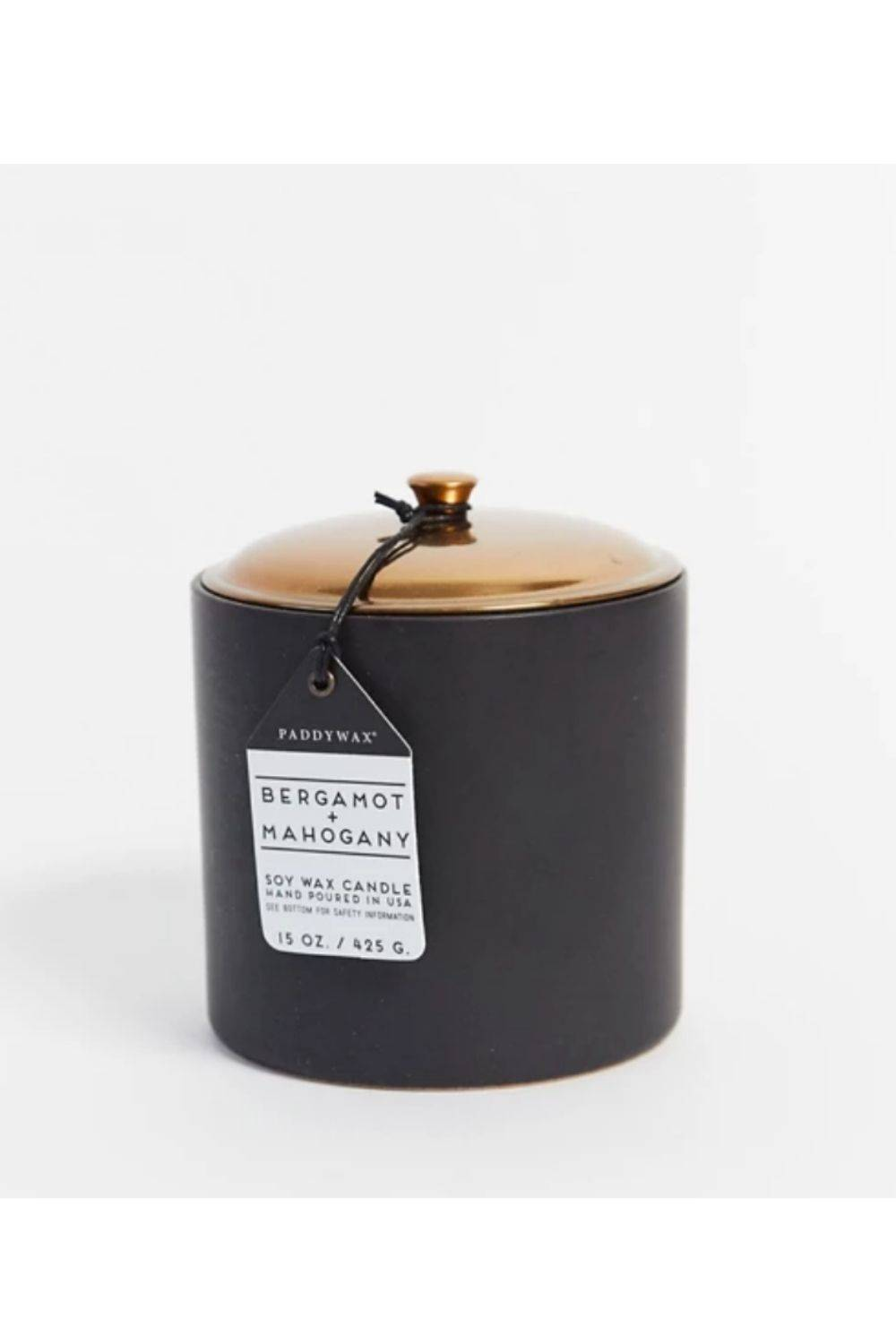 HYGGE 425g Black Bergamot Ceramic and Mahogany Wood Candle