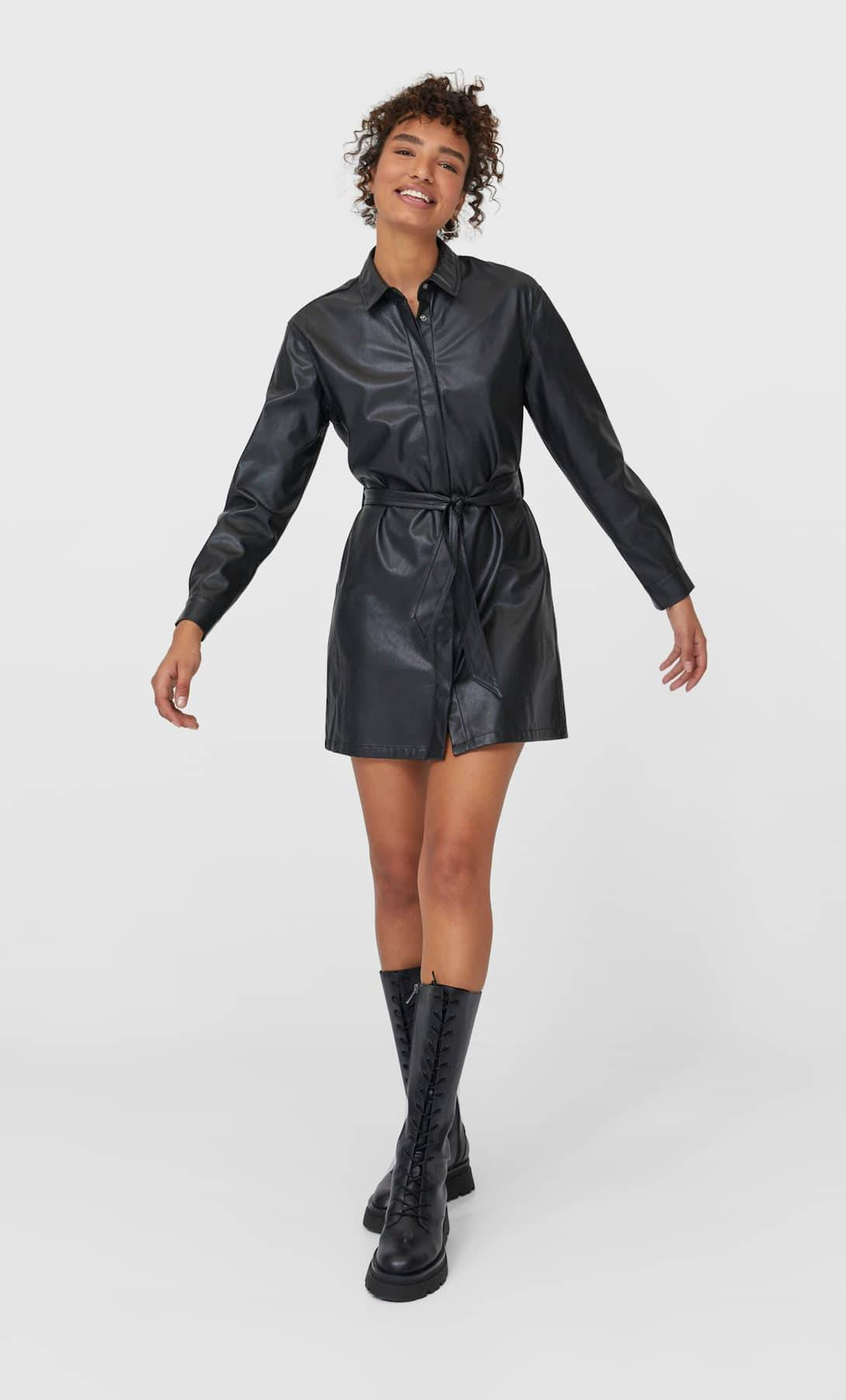 Faux leather shirt dress
