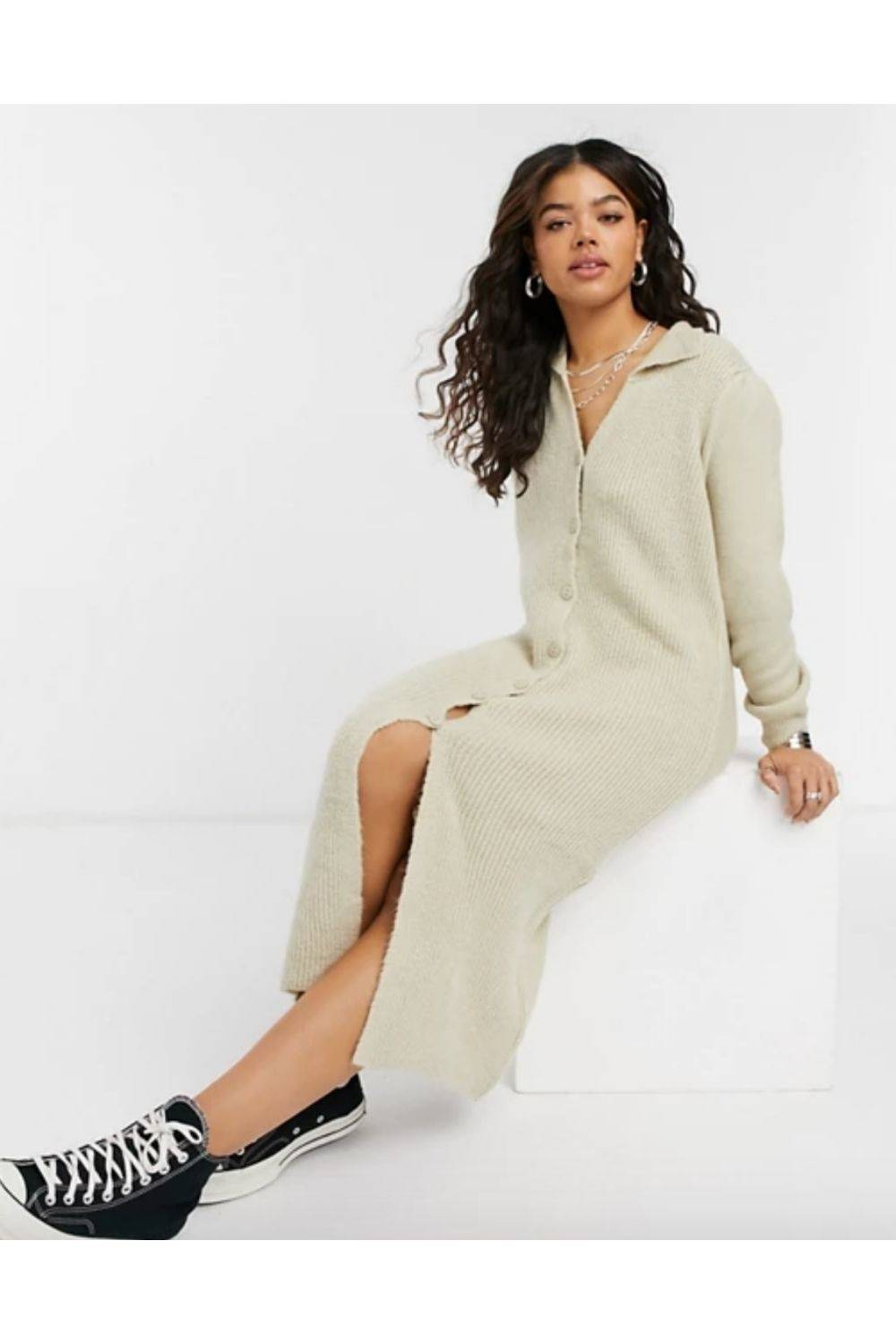ASOS DESIGN knit dress with collar detail and button front
