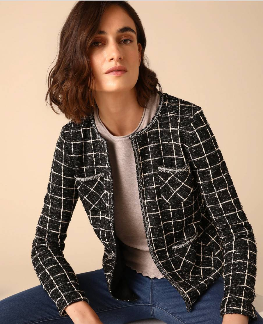 WOMAN EL CORTE INGLÉS Women's tweed jacket with checks