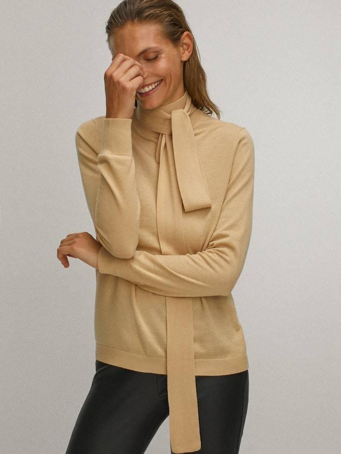Silk wool bow sweater